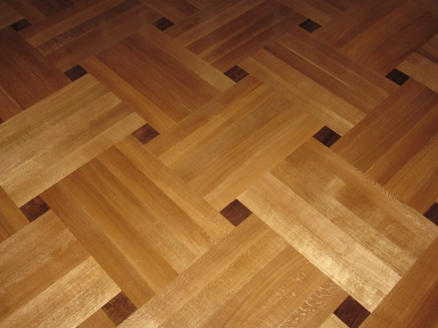 Rift & Quartered White Oak and Walnut Basketweave Wood Floor