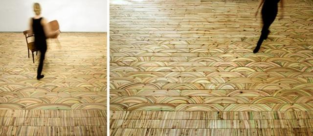 Hand-painted Scandinavian Pine Floor