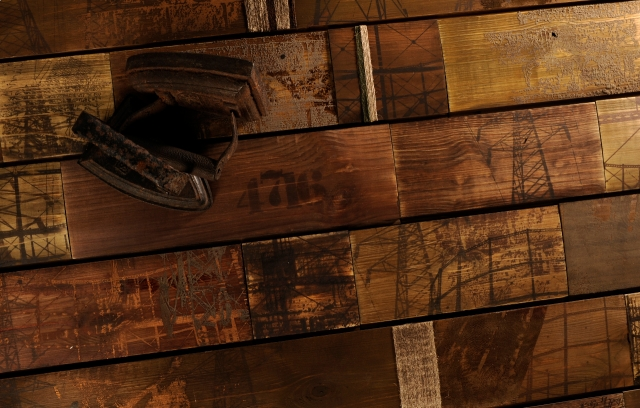 Hand-crafted texturing and printing on wood flooring