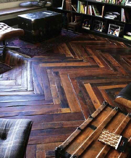 Random width reclaimed herringbone wood floor