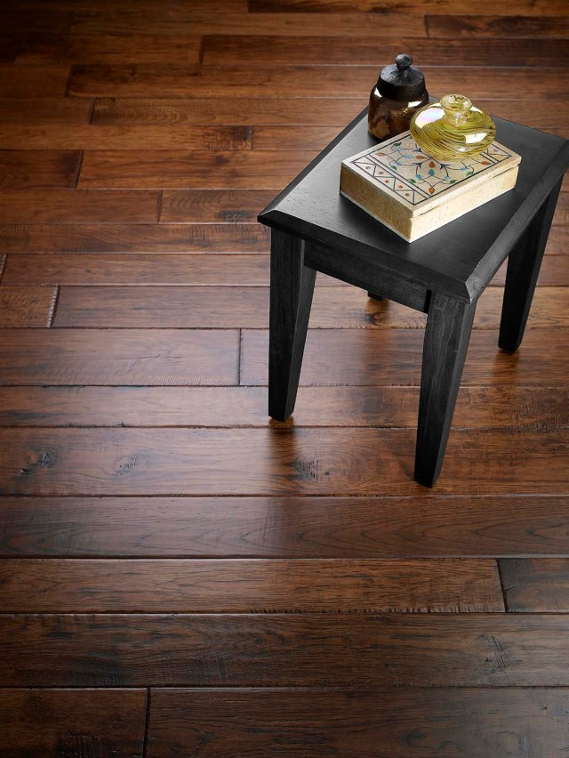 Handscraped Hickory wood floor