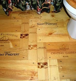 Wood flooring made from wine crates