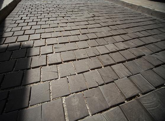 End Grain Wood Floor Cobblestones