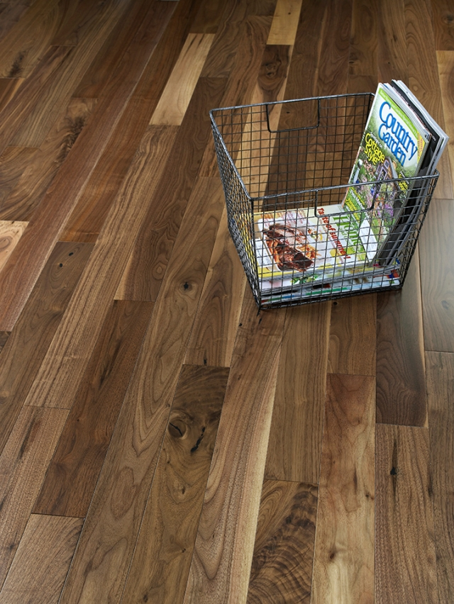 Engineered walnut wood floor