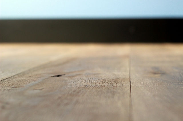 Wire-brushed wood floor