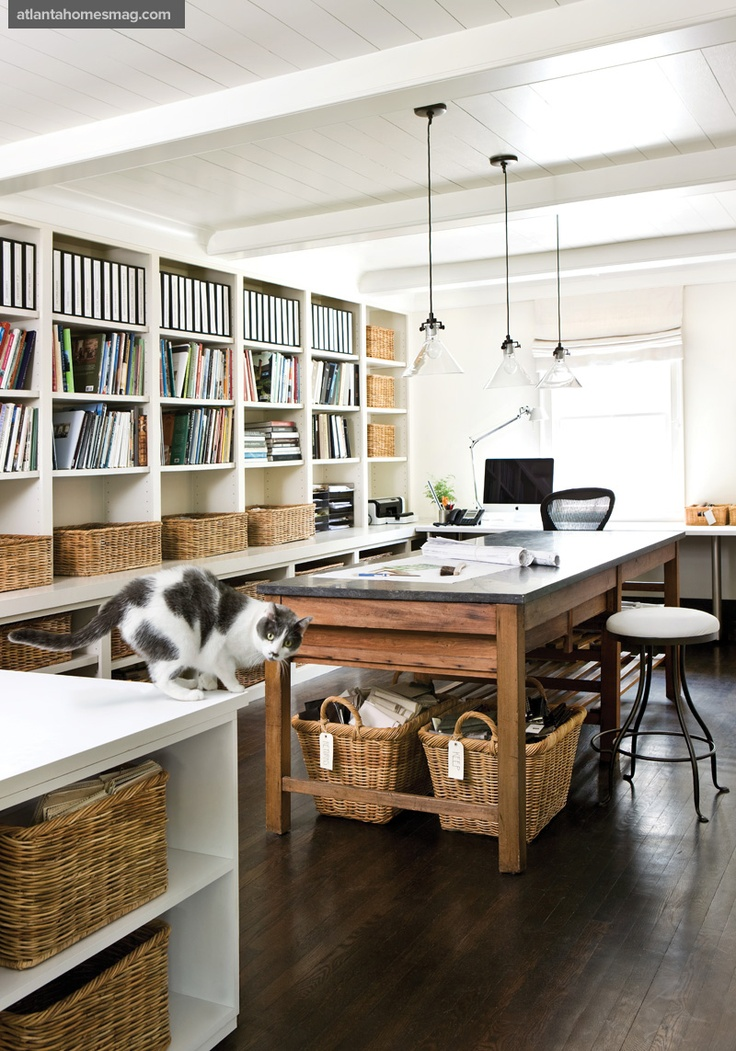 Industrial Study Room: White Walls / Wood Floors – A Gallery